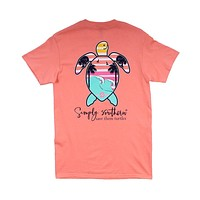 Preppy Save the Turtles Palm Tee in Peachy by Simply Southern