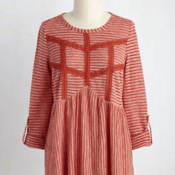 Accept the Inevitable Striped Top in Brick | Mod Retro Vintage Short Sleeve Shirts | ModCloth.com