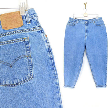 Sz 20 S High Waisted Levi's 550 Jeans - Plus Size Vintage Stone Washed Tapered Leg Women's Levi's Mom Jeans - 39 Waist Size 20 W Short