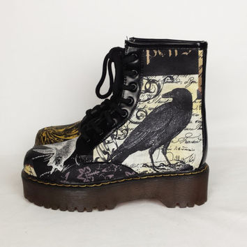 Gothic boots, custom boots, goth shoes, steampunk shoes, crow boots, goth shoes, Spider, crow, birds print shoes, women custom boots