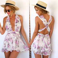 Deep V-neck Flower Print Empire Back Cross Short Jumpsuits