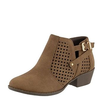 Fall Back To School Girls Tan Low Rise Boots