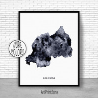 Rwanda Print, Travel Map, Rwanda Map Print, Travel Decor, Travel Prints, Living Room Wall Art, Office Pictures, Art Print Zone