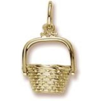 Nantucket Basket Charm in Yellow Gold Plated