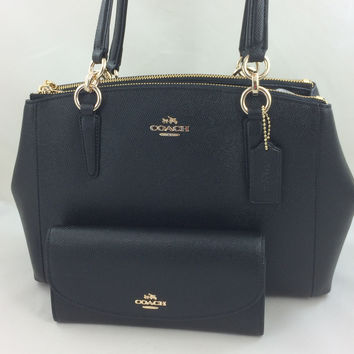 New Authentic Coach F57520 Small Christie Crossgrain Leather Carryall Satchel Shoulder Bag in Black+Wallet Set