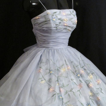 Vintage 1950's 50s Cupcake Baby BLUE Embroidered Silk Chiffon Organza Party Prom Wedding Dress Gown