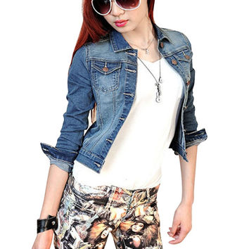 Newest Women's Fashion Casual Long Sleeve Denim Jacket Jeans Short Coat Jacket SM6