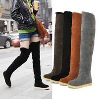 Women Warm Thigh Hign Knee Boots Shoes Flats Super Soft Sole #L36688 (US Size) = 1651621060