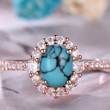 6x8mm Oval Cut Turquoise Engagement Ring .14k white Gold,Anniversary ring,Promise ring,Half Eternity Band,Art deco Halo,Prong,Gift for her