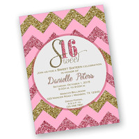 Pretty Pink Sweet 16 Invite - Diva Sweet Sixteen Birthday Bash - Chevron Pink Sweet Sixteen - Trendy - Beautiful - Custom Any Age Girl Teen