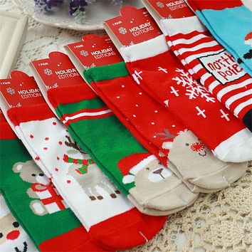 New Women's Snowflake Deer Printed Cotton Casual Socks Ladies Female Girl Men Christmas Gift Hosiery