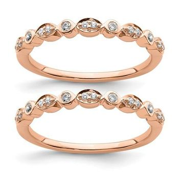 14k Rose Gold Diamond Set Of 2 Wedding Bands