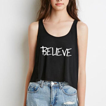 "Justin Bieber ""Believe"" Boxy, Cropped Tank Top"