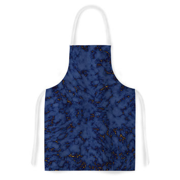 "Will Wild ""Blue & Gold Marble"" Navy Abstract Artistic Apron"