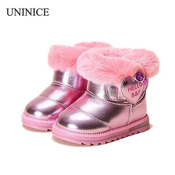 UNINICE Girls Winter Shoes Fashion Children Snow Boots Kids PU Leather Boots Warm Shoes With Fur Princess Baby Girls Ankle Boots