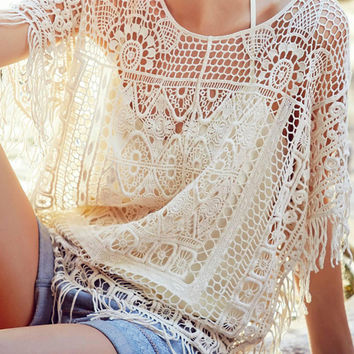 Beige Crochet Tasseled Beach Cover-Up
