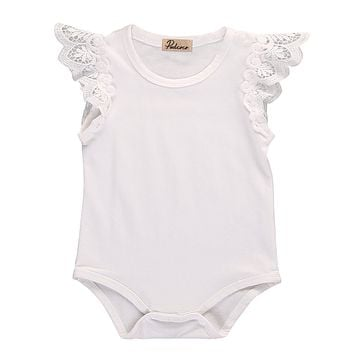 Cotton Newborn Baby Girls Toddler Lace Shoulder Sleeveless Jumper Romper Jumpsuit Baby Summer Clothes