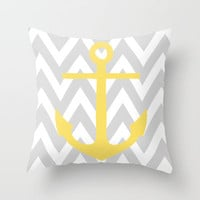 Chevron Anchor Throw Pillow by daniellebourland