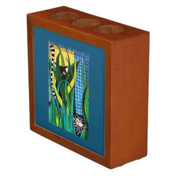 Hunter in Camouflage Whimsical Cat Art Desk Organizer