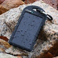 LevinTM Giant+ Solar Panel Charger 12000mAh Rain-resistant and Dirt/Shockproof Dual USB Port Portable Charger Backup External Battery Power Pack for iPhone 6 6plus 5S 5C 5 4S 4, iPad Air, Other iPads, iPods(Apple Adapters not Included), Samsung Galaxy S5 S