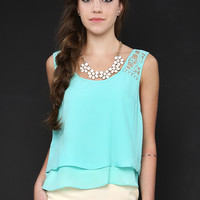 Floral Crochet Shoulder Detail Chiffon Top