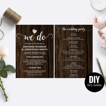 Rustic Wedding Menu Wedding Menu Template  - Rustic wedding program template - Rustic Wedding Chic Menu PDF Instant Download #DPI1314