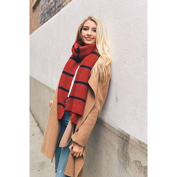Red and Navy Horizontal Stripe Knit Scarf
