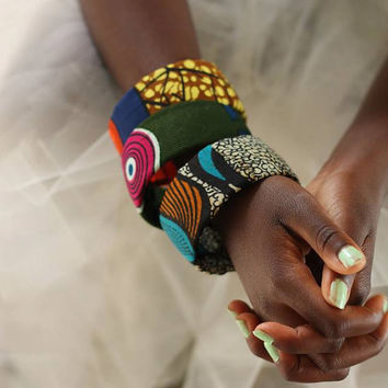 3 African Print Cloth Fashion Bangle Bracelets