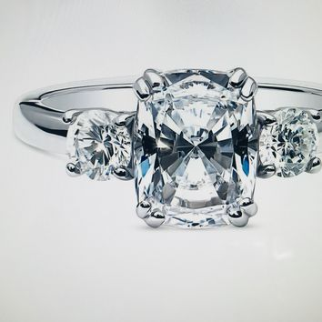 Celebrity Inspired 2.8CT Cushion Cut Russian Lab Diamond Engagement Ring