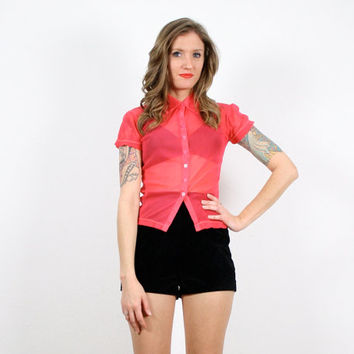 Vintage Hot Pink Shirt Neon Pink Shirt Sheer Mesh Top Club Kid Shirt Rave Raver 1990s 90s Bandage Bodycon New Wave Day Glow XS Extra Small