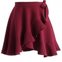 Fall In Love Frilling Skirt in Wine - Bottoms - Retro, Indie and Unique Fashion