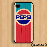 IPHONE 5 CASE Old Grunge Vintage pepsi logo on wood iPhone 4 case iPhone 4S case iPhone case Hard Plastic Case Soft Rubber Case