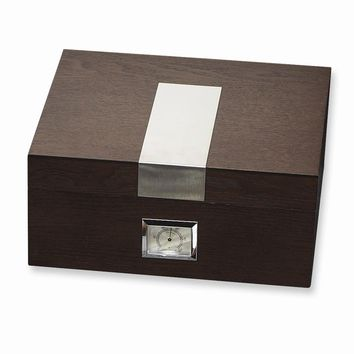 Espresso Wood (Holds 50) Cedar Lined Cigar Humidor - Engravable Gift Item