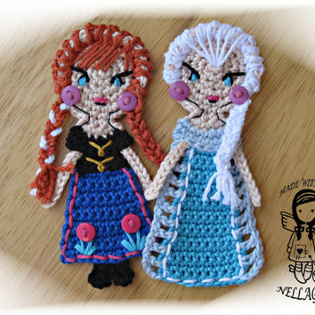 Crochet PATTERN, FROZEN, Applique, Princess Anna, Queen Elsa, Special deal 2in1, DIY Patterns 113 and 114