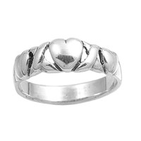 925 Sterling Silver Promise Heart Fusion 5MM Ring