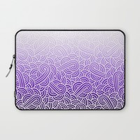 Ombre purple and white swirls zentangle Laptop Sleeve by Savousepate