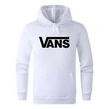 Vans Autumn And Winter New Fashion Letter Print Women Men Sports Leisure Hooded Long Sleeve Top Sweater White
