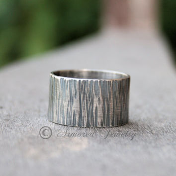 Wide Sterling Silver Tree Bark Textured Ring Band - Wood Grain - Wedding Ring Band - Rustic Jewelry