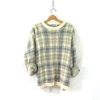 vintage cream and gray sweater. slouchy sweater / size XL