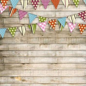 Washed Wood Bunting Flag Vinyl Backdrop - 6x8 - LCCR9077 - LAST CALL