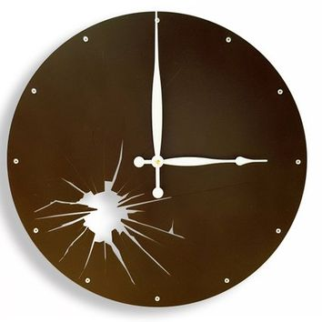Shattered Metal, Large Wall Clock, Metal, Colorful, Big, Movement, Contemporary Art, Personalized, Broken Glass, Round, Nursery, Dark Brown