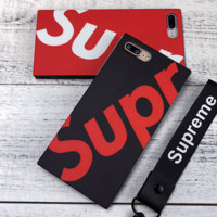 Supreme Tide brand men and women models square personality iPhone7plus soft shell phone case cover