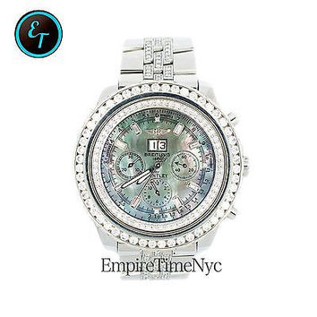 BREITLING BENTLEY A44362 MOP GREY & GREEN 9.75 CT DIAL S/S AUTOMATIC MENS WATCH