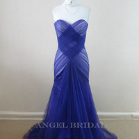 Simple Royal Blue Tulle  Mermaid  wedding dress, Formal wedding gown,Bridal Gown