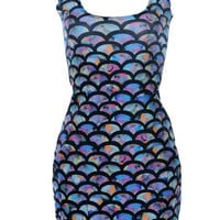Mermaid Fish Scale Colorful Dress Digital Print Casual Dress