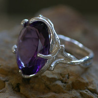 Silver And Amethyst Dress Ring