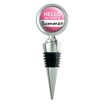 Summer Hello My Name Is Wine Bottle Stopper