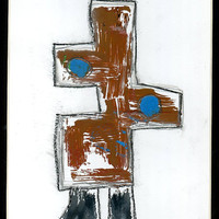 Original Mono Print Brown Blue with Hand Work 9 x 12 inches Abstract Figure 23 by Detroit Artist Free Shipping