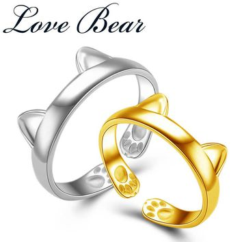 LOVE BEAR Brand 925 Solid Sterling Silver For Womens Gold Color Lucky Paws And Kitty Cat Ears Claw Finger Rings Girls Mood Rings