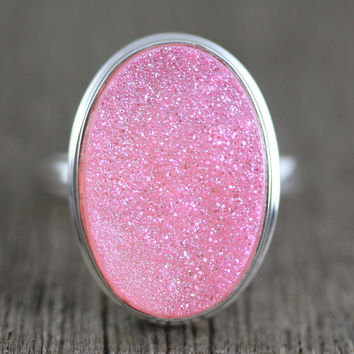 Pink Titanium Druzy Agate in Sterling Silver Size 8 Ring